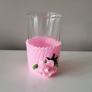 Free w/ Purchase Cup Cozy Pink Flower Handmade